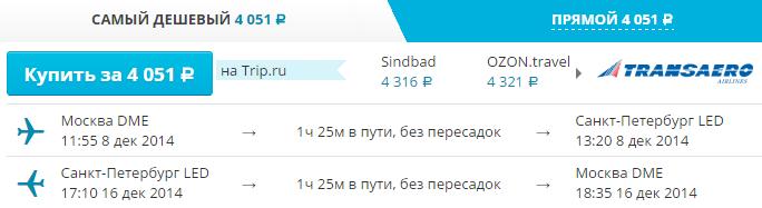 полететь в декабре 2014 в петербург и москву