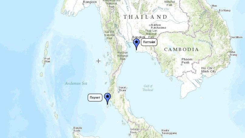 расстояние от паттайи до пхукета на карте таиланда