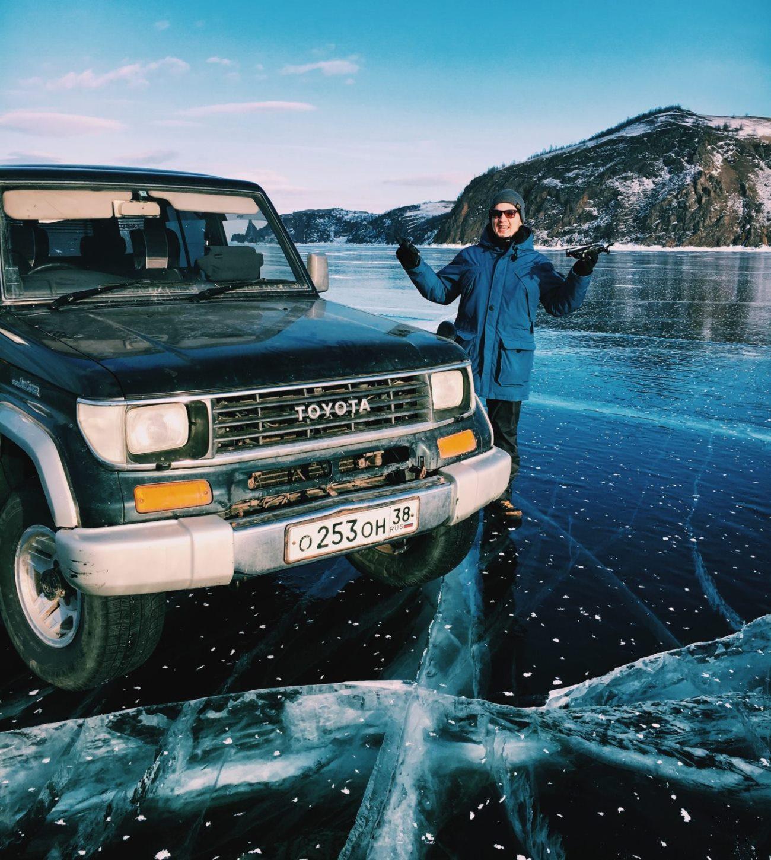 Поездка на машине на зимний Байкал