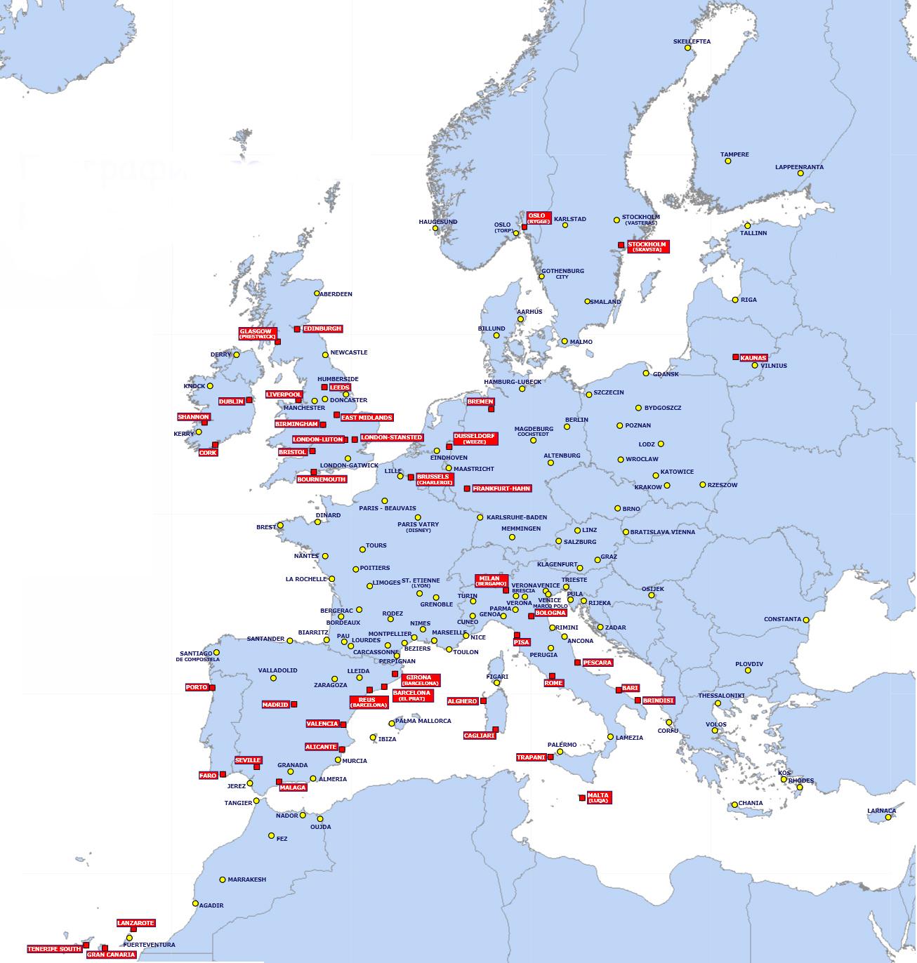 Дешево летать в Европе. Карта полетов Ryanair.
