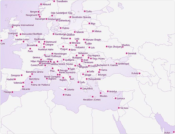 Дешево летать в Европе. Карта полетов WizzAir.
