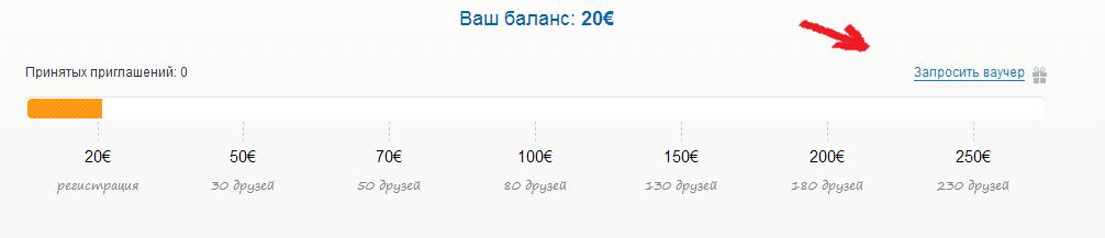 Ваучер на 20 евро от bravofriends.ru