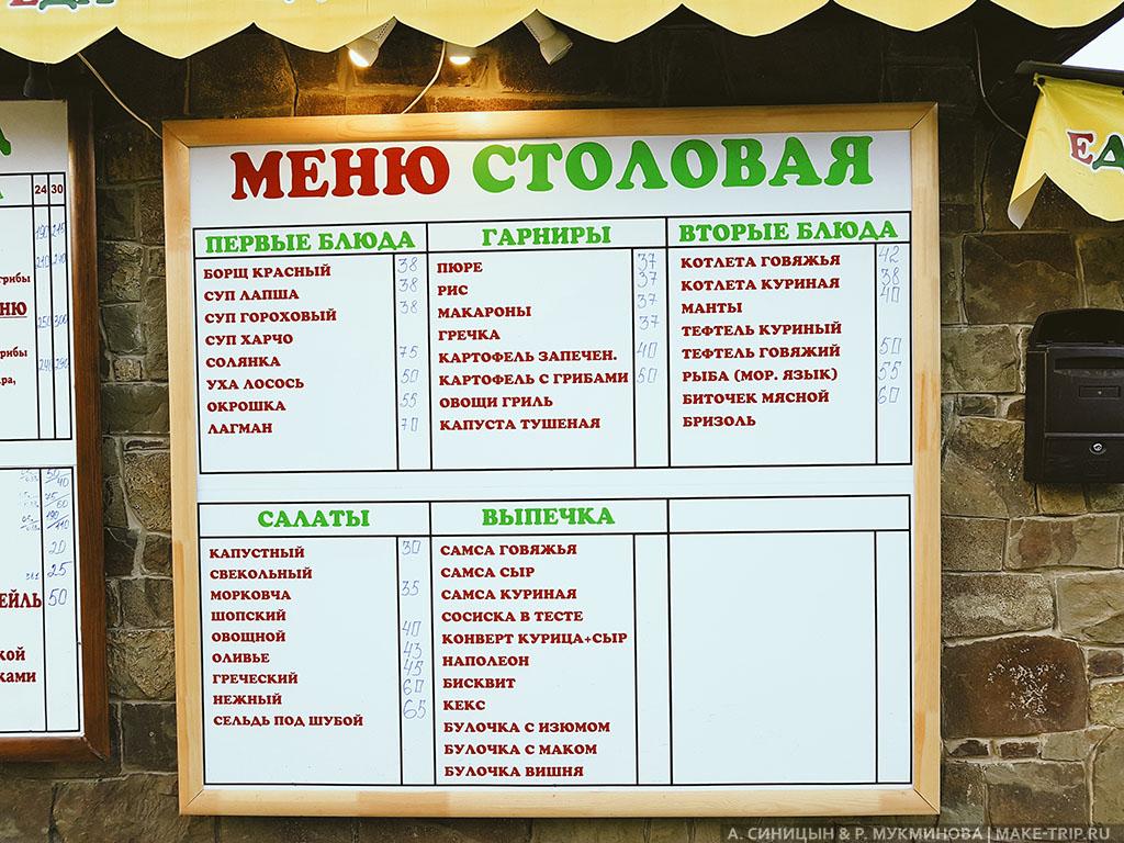 Цены на еду в Судаке в Крыму