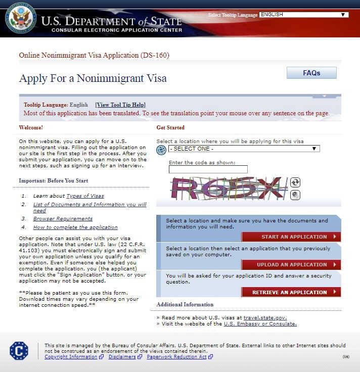 Как заполнить заявление на визу США